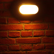 Stock Photo: Old red brick wall with street light