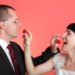 Happy smiling bride and groom — Stock Photo #11769808