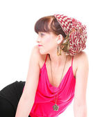 Frau in einem turban isoliert — Stockfoto