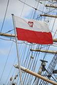 Flag of Poland - sail ship — Stock Photo