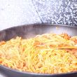 Boiling Spaghetti Pastin skillet — Stock Photo #11979436