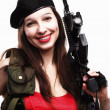 Girl holding Rifle islated on white background — Stock Photo