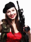 Girl holding Rifle islated on white background — Stock Photo