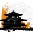 Stock Vector: Pagoda silhouette design