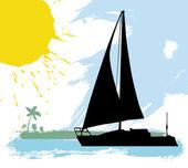 Sailing boat — Cтоковый вектор