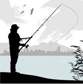 Fishing silhouette — Stock Vector