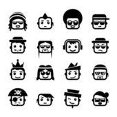 Visages souriants. personnages hommes — Vecteur