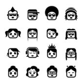 Smiley faces. women characters — 图库矢量图片