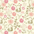 Floral seamless pattern, vector design — Stockvectorbeeld