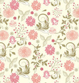 Floral seamless pattern, vector design — Cтоковый вектор