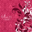 Vector de stock : Red damask invitation card