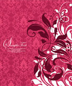Red damask invitation card — Stock Vector