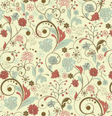 Floral seamless pattern, vector design — Vecteur