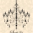 Vector de stock : Luxury chandelier on floral background