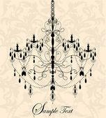 Lyx ljuskrona på floral bakgrund — Stockvektor