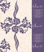 Karta zaproszenie na różowym tle fioletowe kwiaty — Wektor stockowy