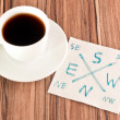 Compass on a napkin — Stock Photo