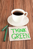 Inscription Think Green on a napkin — Stock Photo