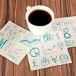 Business signs on a napkin — Stock Photo