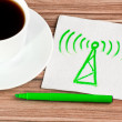 Radio tower on napkin — Stock Photo #11673593