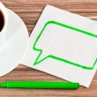 The sign of talk on a napkin — Stock Photo