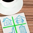 Signs of buildings on a napkin — Stock Photo