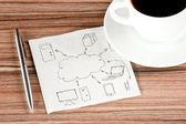 Computing cloud on a napkin — Stok fotoğraf
