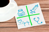 Medical signs on a napkin — Stock Photo