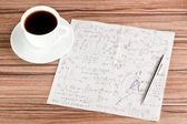 Mathematical calculations on a napkin — Stock Photo