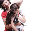 Woman and daughter Little girl dries hair isolated — Стоковая фотография