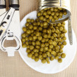 Can with canned, tinned peas, — Stock Photo