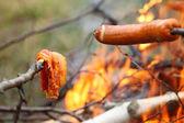 Llamas de fuego de hoguera hoguera asar carne bbq — Foto de Stock