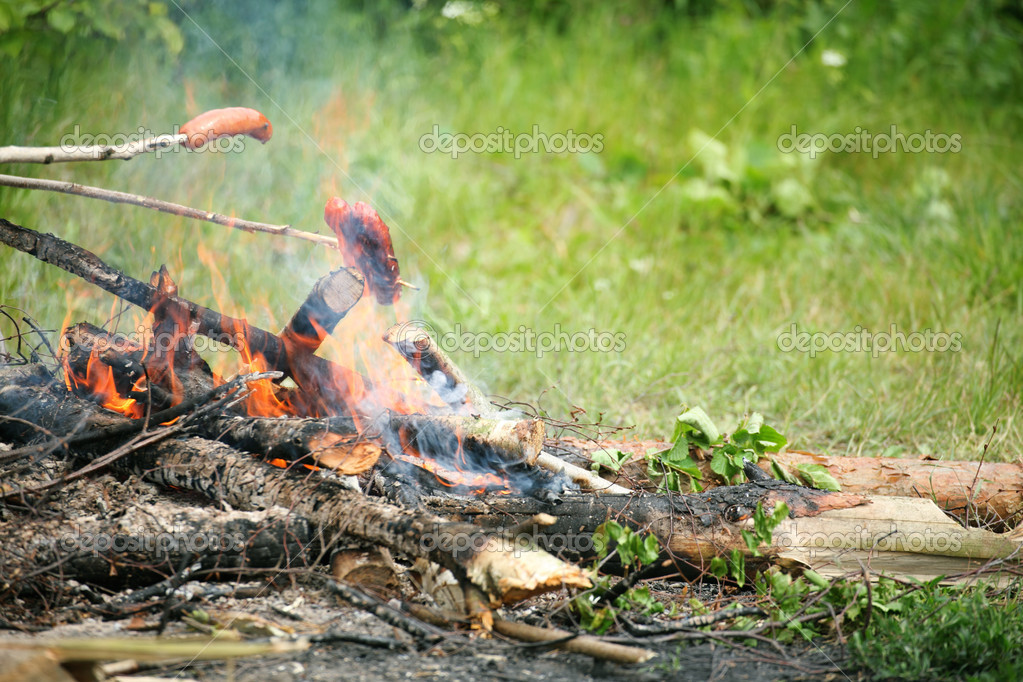 Flames grilling a steak on the BBQ bonfire, campfire summer — Stock Photo #12079462
