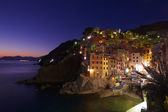 Village at night on sea side — Stock Photo