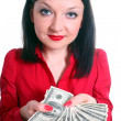 Girl with money isolated — Stock Photo