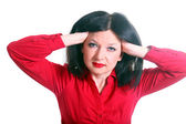 Hon känner en huvudvärk — Stockfoto
