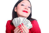 She loves money — Stock Photo