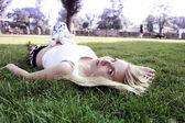 Pregnant Girl in the Park — Stock Photo