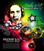 Music Club background for disco flyer — Vettoriale Stock