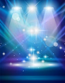 Projecteurs magiques avec rayons bleus — Vecteur