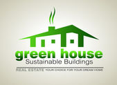 Green Eco sustainable house icon — Stock Vector