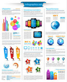 Infographics page with a lot of design elements — Stock Vector