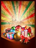 Fundo vintage de natal feliz — Vetor de Stock