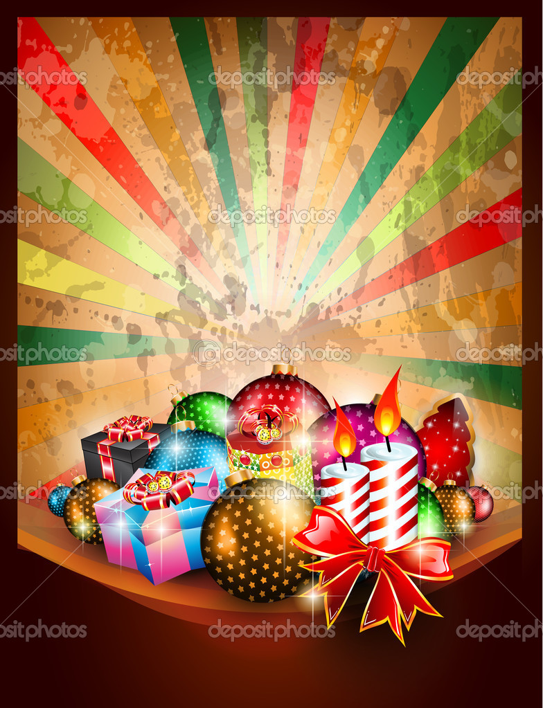 Merry Christmas vintage Background for Greetings Card, Posters or invitations flyer with gift boxes, baubles and candles. — Imagen vectorial #12123902
