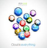Cloud computin fondo concepto — Vector de stock
