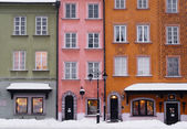 Facades of Warsaw Old Town Buildings, Poland. — Stock Photo