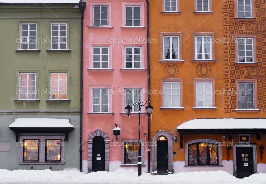 Colourful Facades of buildings in Warsaw&#039;s Old Town (Stary Miasto), Poland.  Stock Photo #10748769
