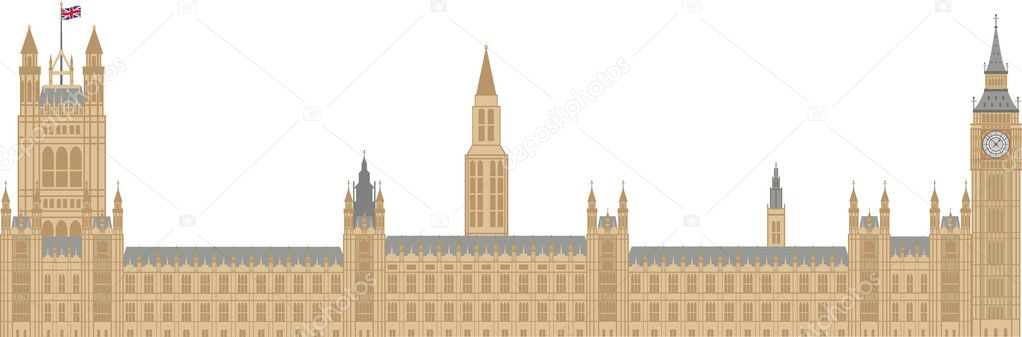 Palace of Westminster Houses of Parliament with Big Ben Clock Tower in London Illustration — Stock Vector #10739875