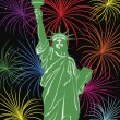 Stock Vector: Statue of Liberty with Fireworks Illustration