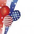 4th of July Balloons with Border Illustration — Stock Vector